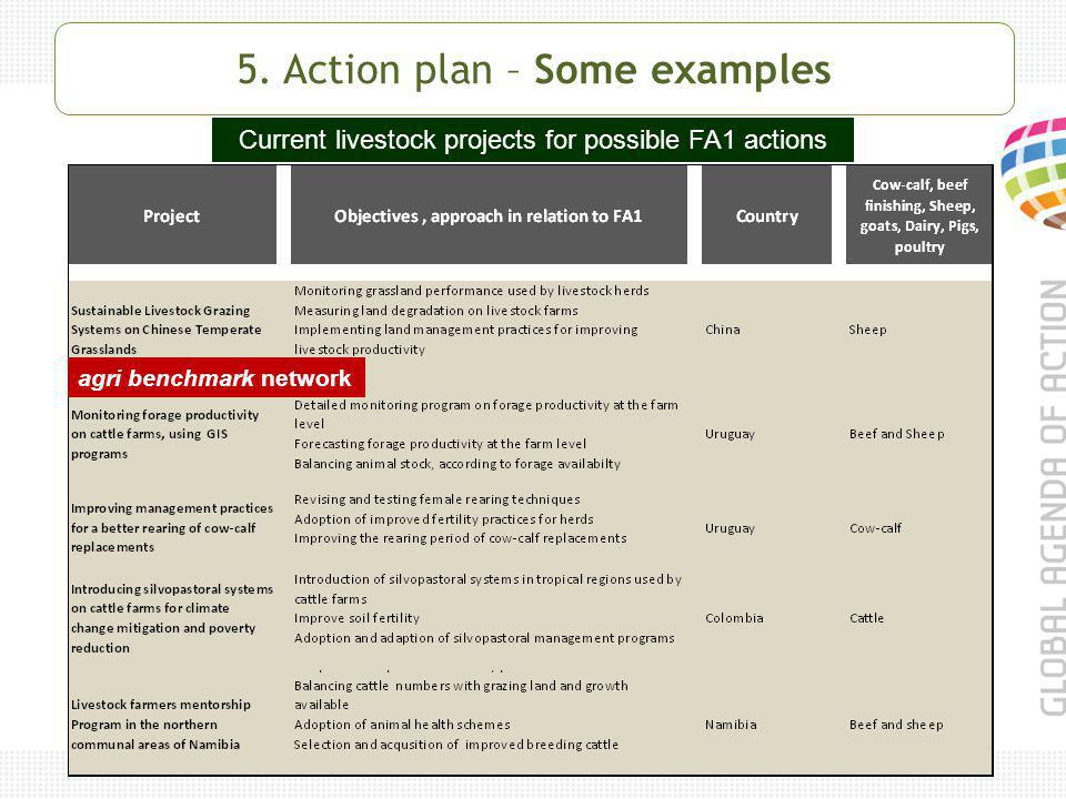 Current livestock projects for possible FA1 actions agri benchmark network 5.