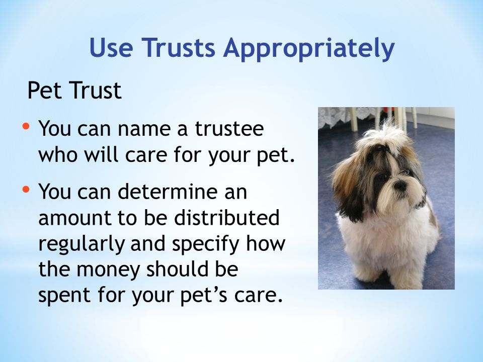Use Trusts Appropriately You can name a trustee who will care for your pet.