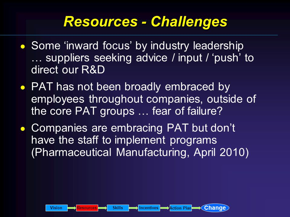 Resources - Challenges Some inward focus by industry leadership … suppliers seeking advice / input / push to direct our R&D PAT has not been broadly embraced by employees throughout companies, outside of the core PAT groups … fear of failure.