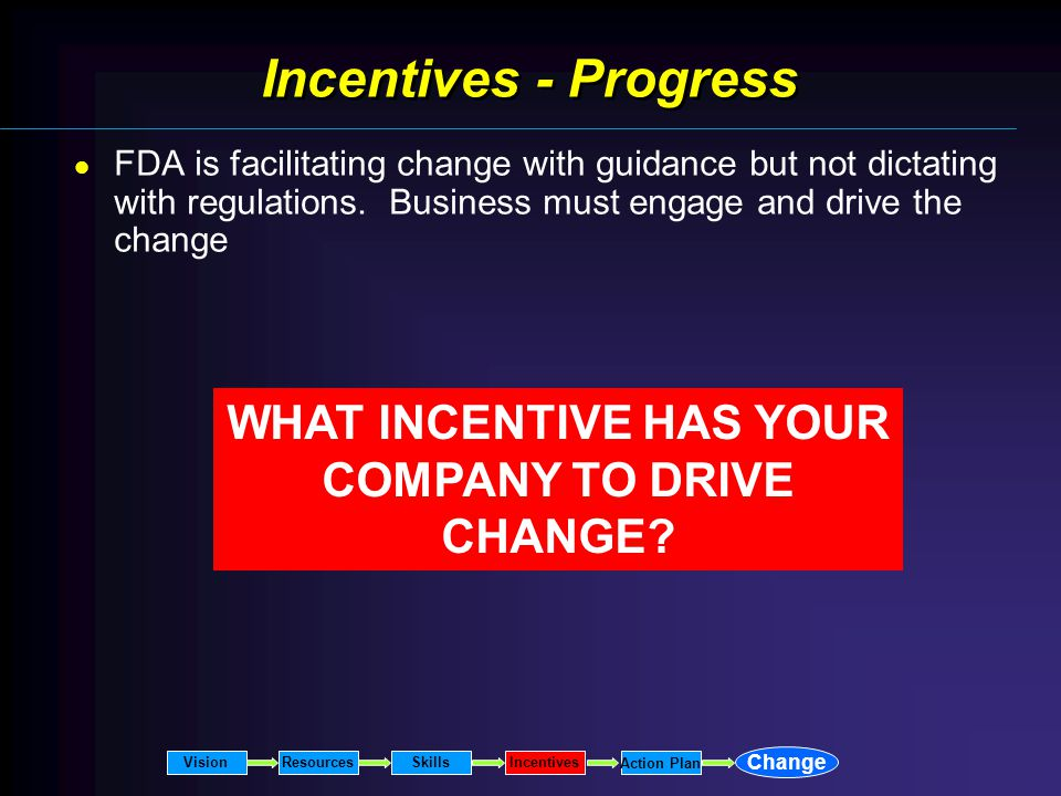 Incentives - Progress FDA is facilitating change with guidance but not dictating with regulations.