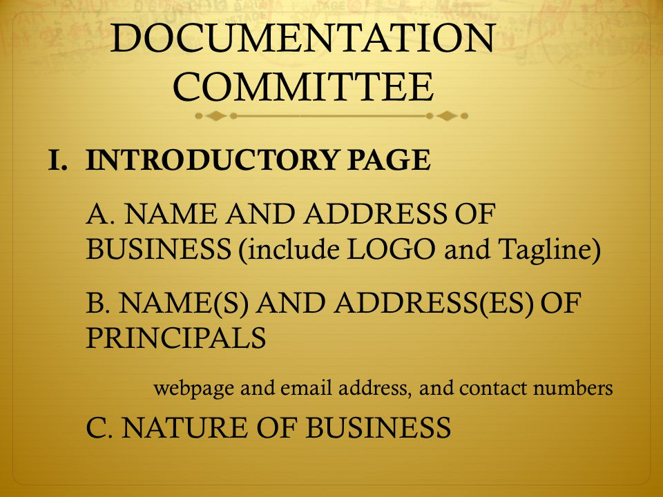 DOCUMENTATION COMMITTEE I.INTRODUCTORY PAGE A.