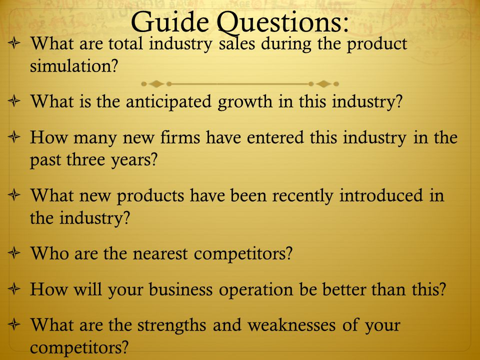 Guide Questions: What are total industry sales during the product simulation.