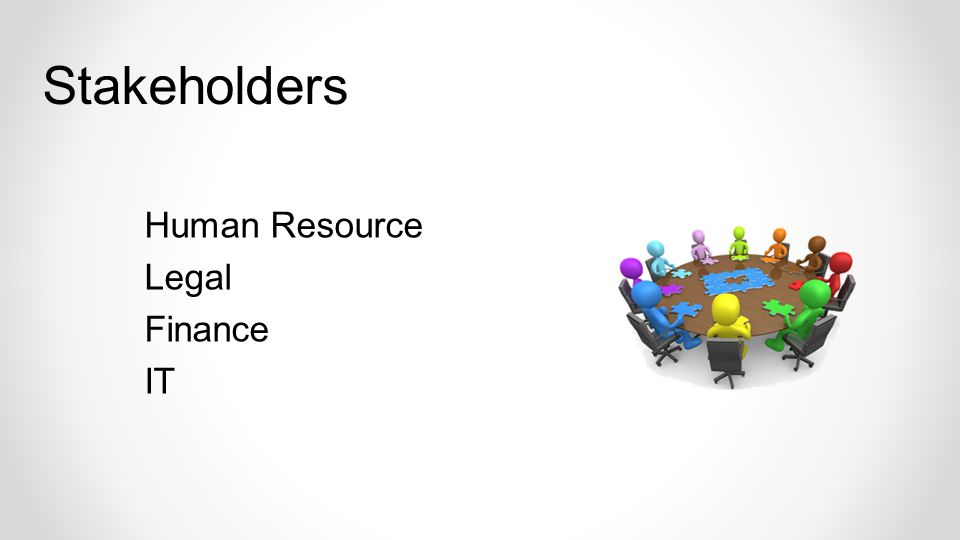 Human Resource Legal Finance IT Stakeholders