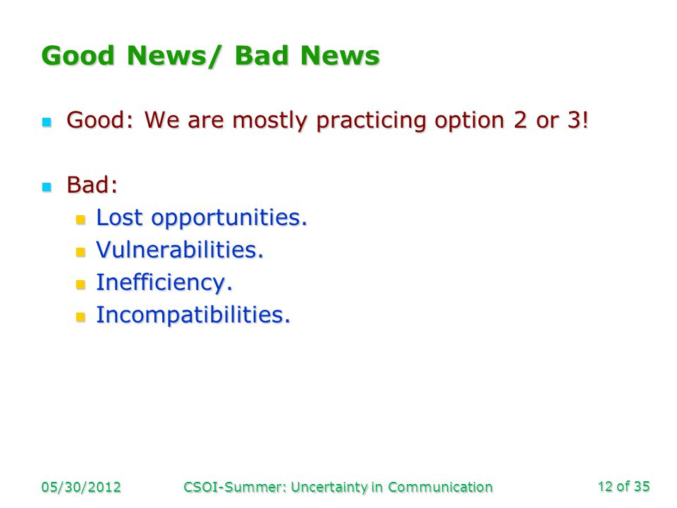 of 35 Good News/ Bad News Good: We are mostly practicing option 2 or 3.