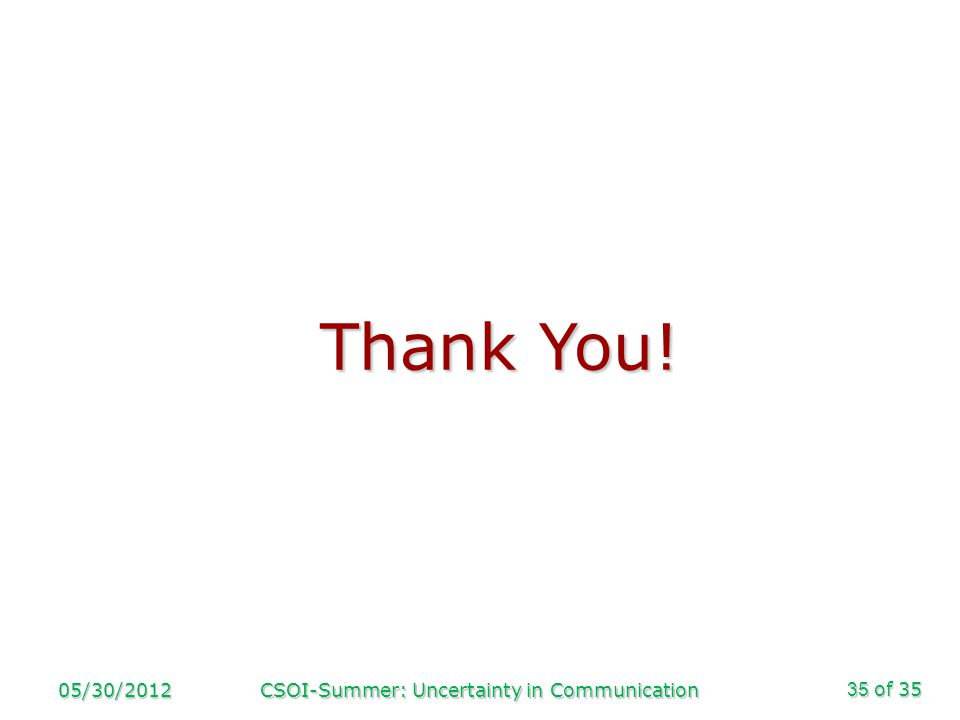 of 35 05/30/2012CSOI-Summer: Uncertainty in Communication35 Thank You!