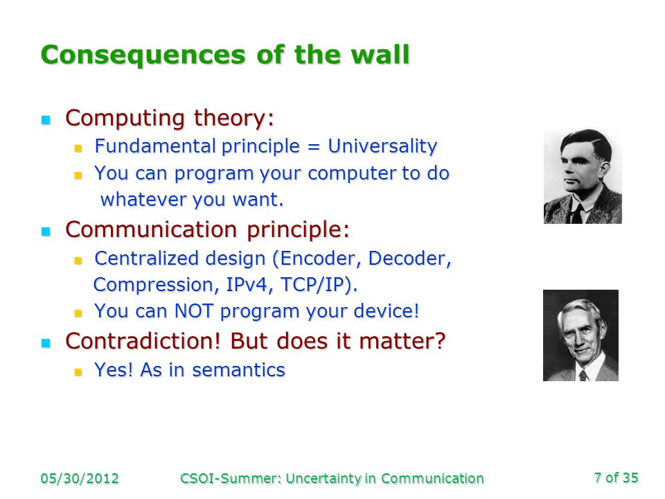 of 35 Consequences of the wall Computing theory: Computing theory: Fundamental principle = Universality Fundamental principle = Universality You can program your computer to do You can program your computer to do whatever you want.