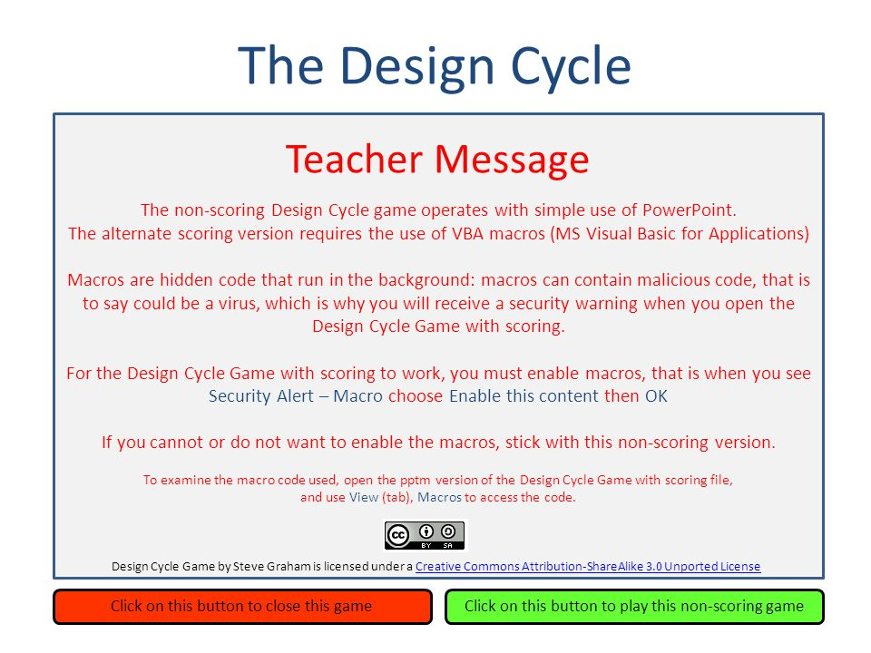 The Design Cycle Investigate Design PlanCreate Evaluate Congratulations.