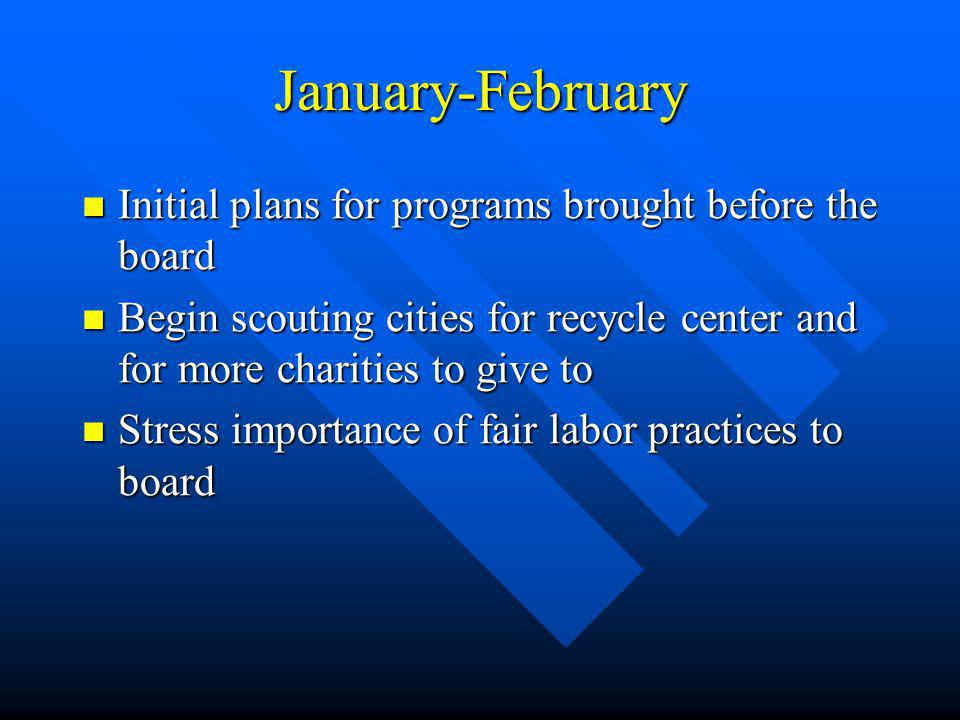 January-February Initial plans for programs brought before the board Initial plans for programs brought before the board Begin scouting cities for recycle center and for more charities to give to Begin scouting cities for recycle center and for more charities to give to Stress importance of fair labor practices to board Stress importance of fair labor practices to board