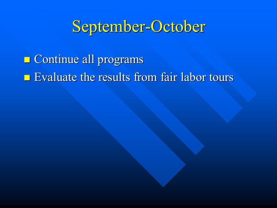 September-October Continue all programs Continue all programs Evaluate the results from fair labor tours Evaluate the results from fair labor tours