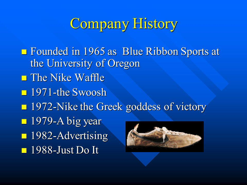 Company History Founded in 1965 as Blue Ribbon Sports at the University of Oregon Founded in 1965 as Blue Ribbon Sports at the University of Oregon The Nike Waffle The Nike Waffle 1971-the Swoosh 1971-the Swoosh 1972-Nike the Greek goddess of victory 1972-Nike the Greek goddess of victory 1979-A big year 1979-A big year 1982-Advertising 1982-Advertising 1988-Just Do It 1988-Just Do It