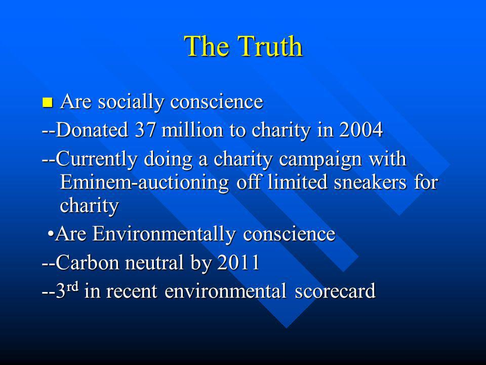 The Truth Are socially conscience Are socially conscience --Donated 37 million to charity in 2004 --Currently doing a charity campaign with Eminem-auctioning off limited sneakers for charity Are Environmentally conscience Are Environmentally conscience --Carbon neutral by 2011 --3 rd in recent environmental scorecard