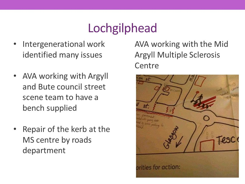 Lochgilphead Intergenerational work identified many issues AVA working with Argyll and Bute council street scene team to have a bench supplied Repair of the kerb at the MS centre by roads department AVA working with the Mid Argyll Multiple Sclerosis Centre