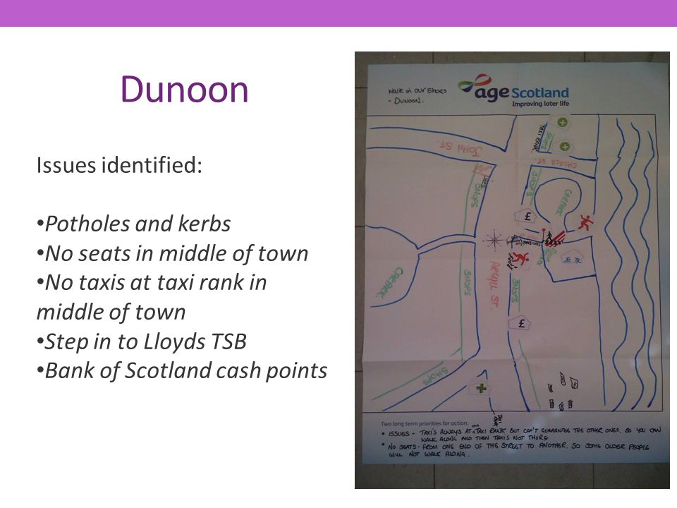 Dunoon Issues identified: Potholes and kerbs No seats in middle of town No taxis at taxi rank in middle of town Step in to Lloyds TSB Bank of Scotland cash points