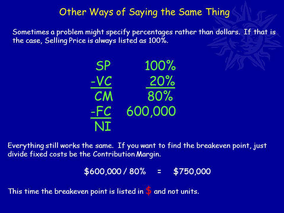Other Ways of Saying the Same Thing SP 100% -VC 20% CM 80% -FC 600,000 NI Sometimes a problem might specify percentages rather than dollars.