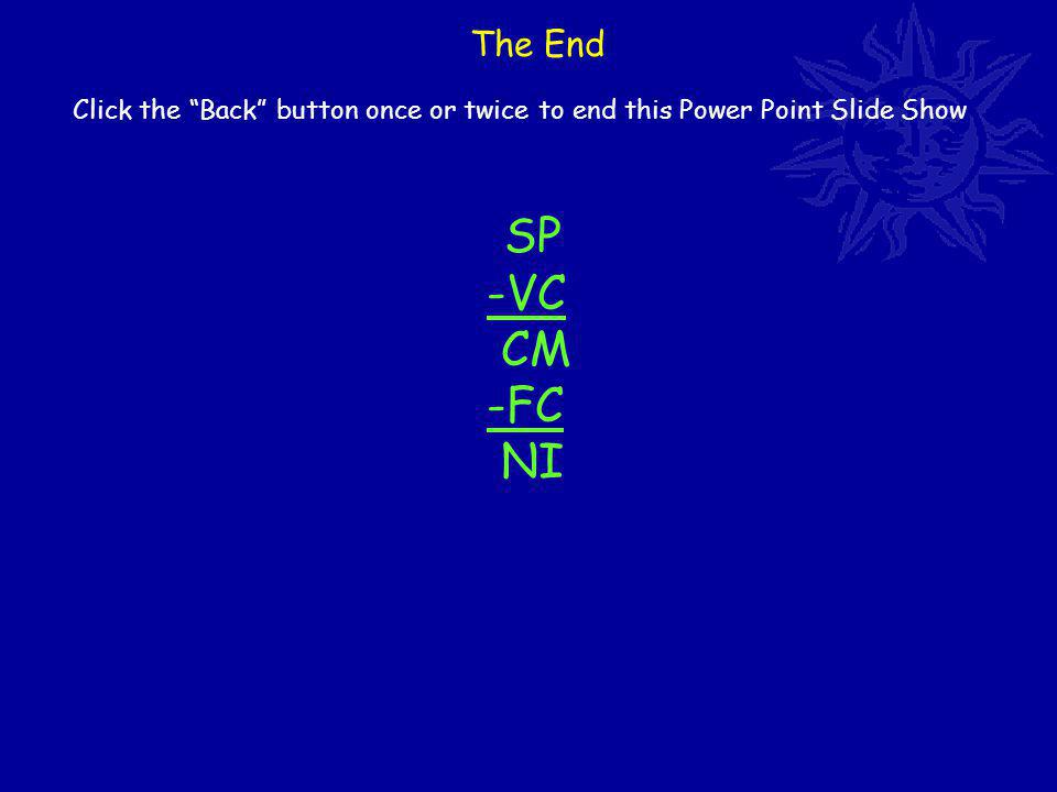 The End Click the Back button once or twice to end this Power Point Slide Show SP -VC CM -FC NI