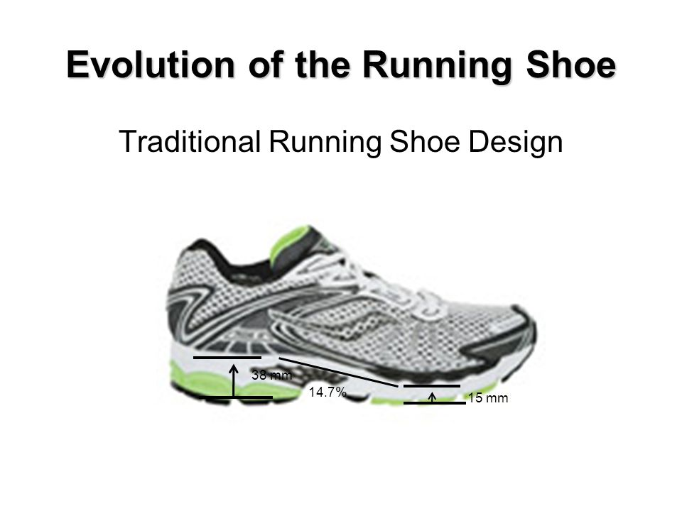 Evolution of the Running Shoe Traditional Running Shoe Design 38 mm 15 mm 14.7%