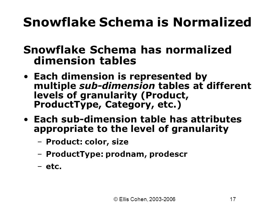 17 © Ellis Cohen, 2003-2006 Snowflake Schema is Normalized Snowflake Schema has normalized dimension tables Each dimension is represented by multiple sub-dimension tables at different levels of granularity (Product, ProductType, Category, etc.) Each sub-dimension table has attributes appropriate to the level of granularity –Product: color, size –ProductType: prodnam, prodescr –etc.