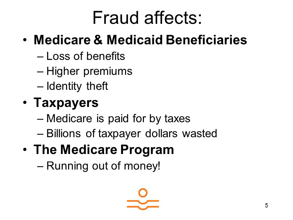 5 Medicare & Medicaid Beneficiaries –Loss of benefits –Higher premiums –Identity theft Taxpayers –Medicare is paid for by taxes –Billions of taxpayer dollars wasted The Medicare Program –Running out of money.