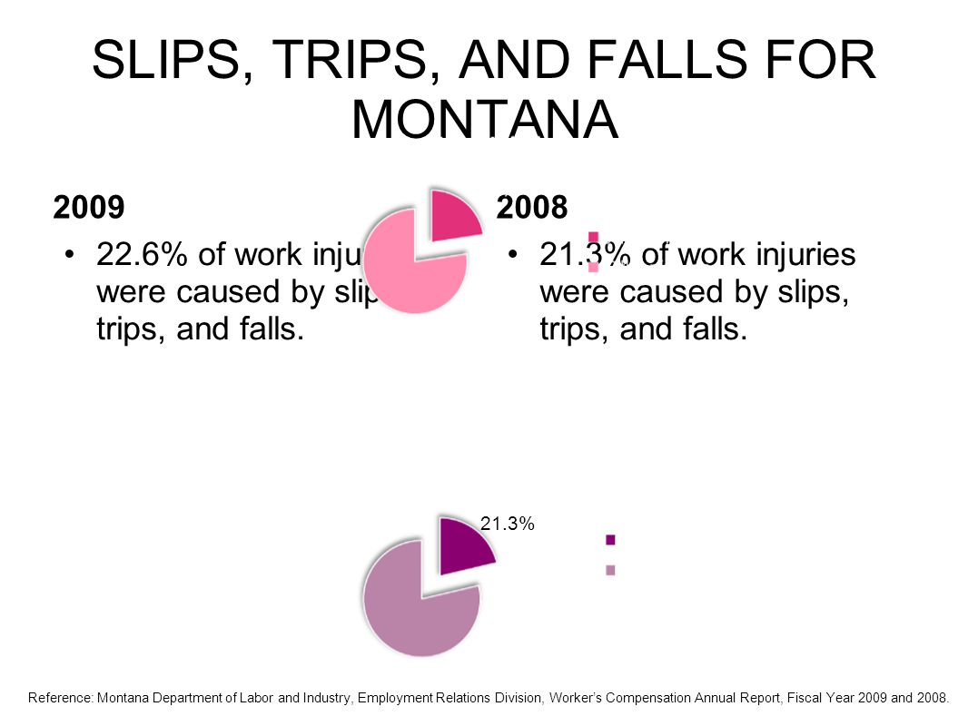 SLIPS, TRIPS, AND FALLS FOR MONTANA 2009 22.6% of work injuries were caused by slips, trips, and falls.