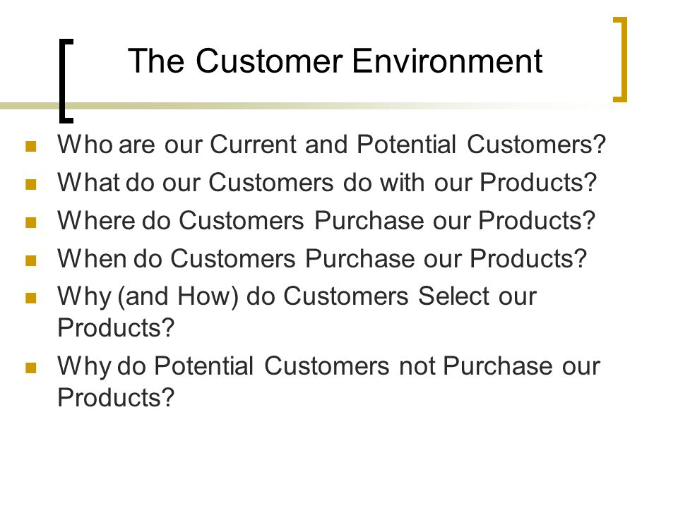 Who are our Current and Potential Customers. What do our Customers do with our Products.