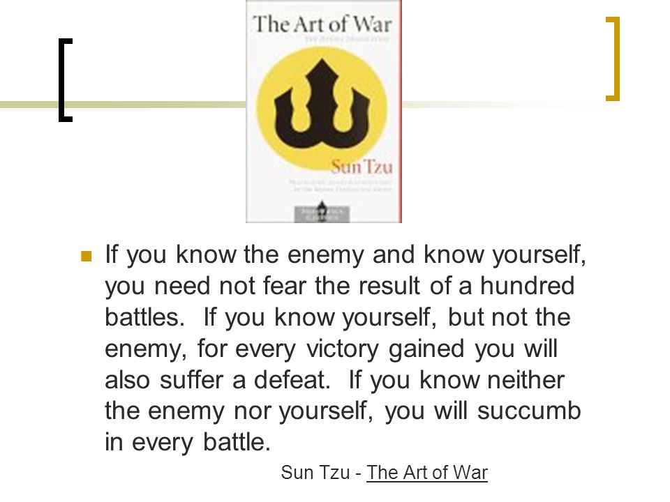 If you know the enemy and know yourself, you need not fear the result of a hundred battles.