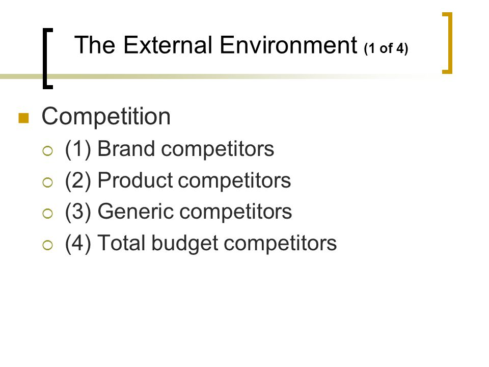 Competition (1) Brand competitors (2) Product competitors (3) Generic competitors (4) Total budget competitors The External Environment (1 of 4)
