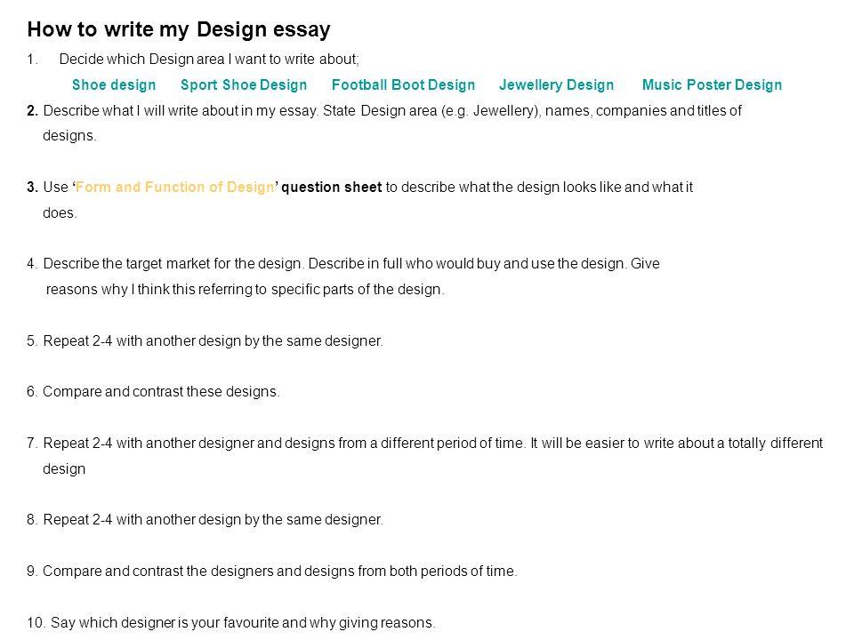 Design Essay/ Start 1 Log on 2 Open a Word document  3 Write