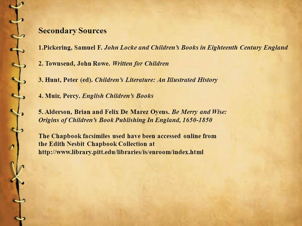 Secondary Sources 1.Pickering, Samuel F.