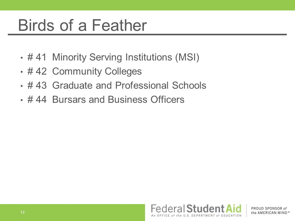 Birds of a Feather 13 # 41 Minority Serving Institutions (MSI) # 42 Community Colleges # 43 Graduate and Professional Schools # 44 Bursars and Business Officers