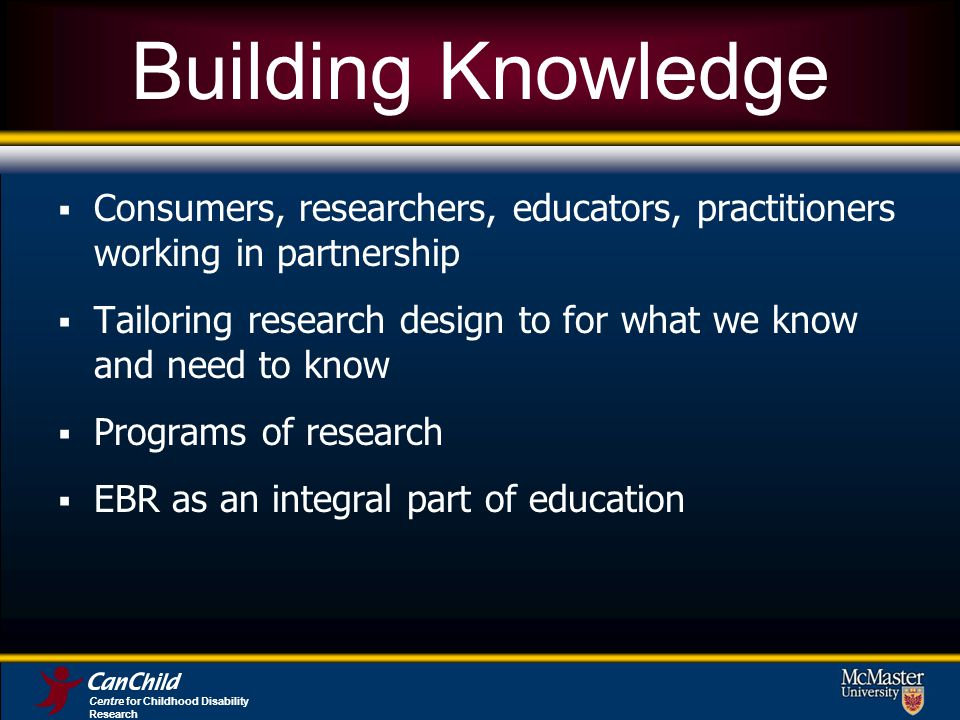 Centre for Childhood Disability Research Building Knowledge Consumers, researchers, educators, practitioners working in partnership Tailoring research design to for what we know and need to know Programs of research EBR as an integral part of education