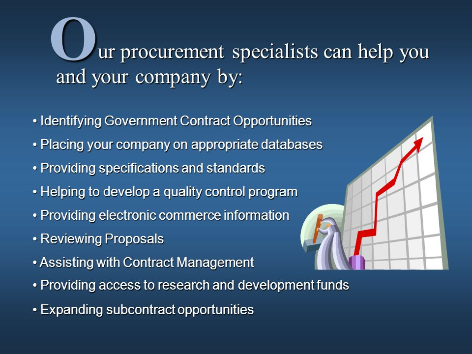ur procurement specialists can help you and your company by: ur procurement specialists can help you and your company by: O Identifying Government Contract Opportunities Identifying Government Contract Opportunities Placing your company on appropriate databases Placing your company on appropriate databases Providing specifications and standards Providing specifications and standards Helping to develop a quality control program Helping to develop a quality control program Providing electronic commerce information Providing electronic commerce information Reviewing Proposals Reviewing Proposals Providing access to research and development funds Providing access to research and development funds Expanding subcontract opportunities Expanding subcontract opportunities Assisting with Contract Management Assisting with Contract Management