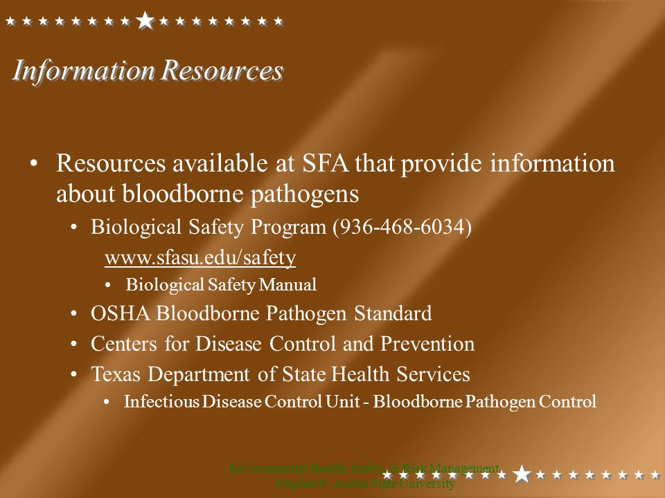 Environmental Health, Safety, & Risk Management Stephen F.