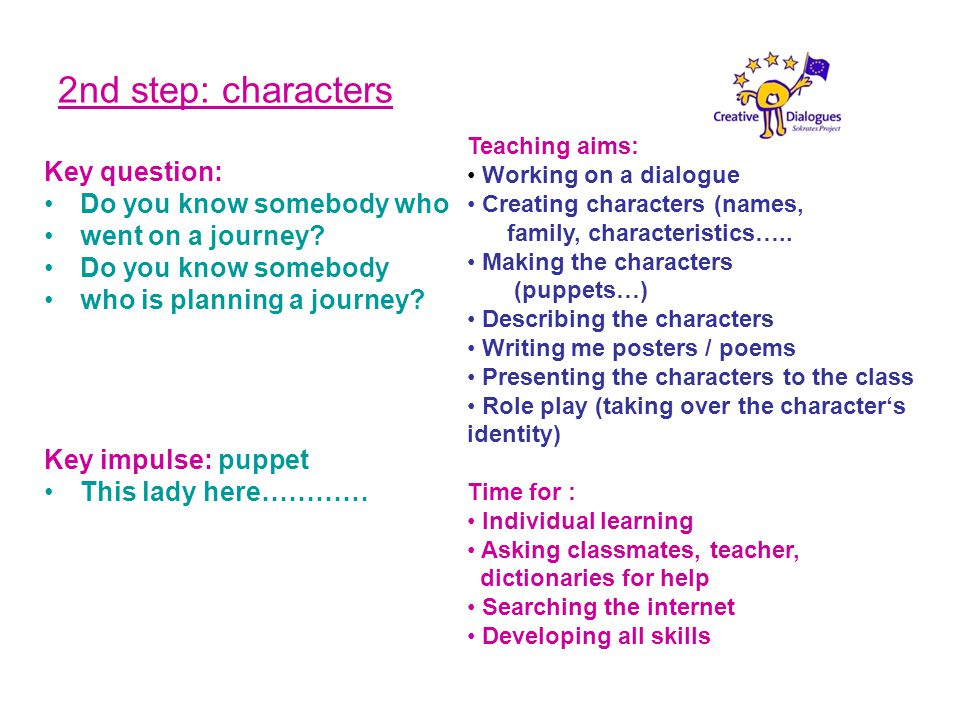 2nd step: characters Key question: Do you know somebody who went on a journey.