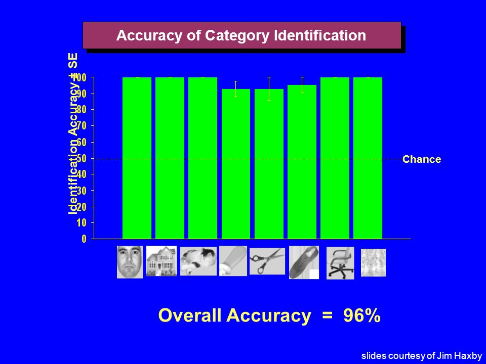 Accuracy of Category Identification Identification Accuracy ± SE Chance Overall Accuracy = 96% slides courtesy of Jim Haxby