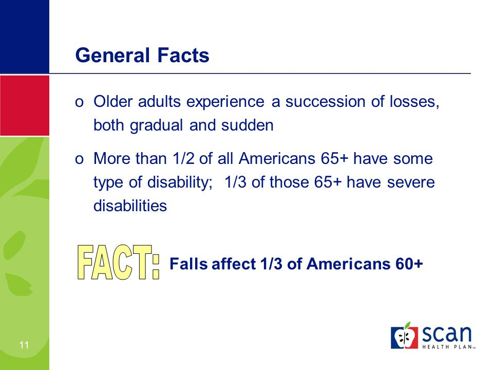 11 oOlder adults experience a succession of losses, both gradual and sudden oMore than 1/2 of all Americans 65+ have some type of disability; 1/3 of those 65+ have severe disabilities General Facts Falls affect 1/3 of Americans 60+
