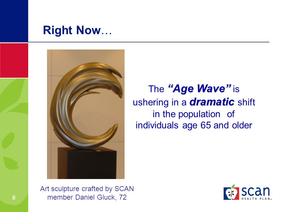 8 Right Now… Age Wave dramatic The Age Wave is ushering in a dramatic shift in the population of individuals age 65 and older Art sculpture crafted by SCAN member Daniel Gluck, 72