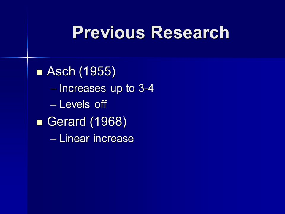 Previous Research Asch (1955) Asch (1955) –Increases up to 3-4 –Levels off Gerard (1968) Gerard (1968) –Linear increase