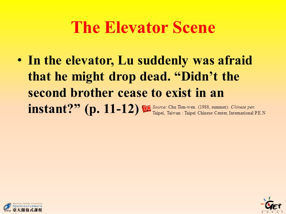 The Elevator Scene In the elevator, Lu suddenly was afraid that he might drop dead.