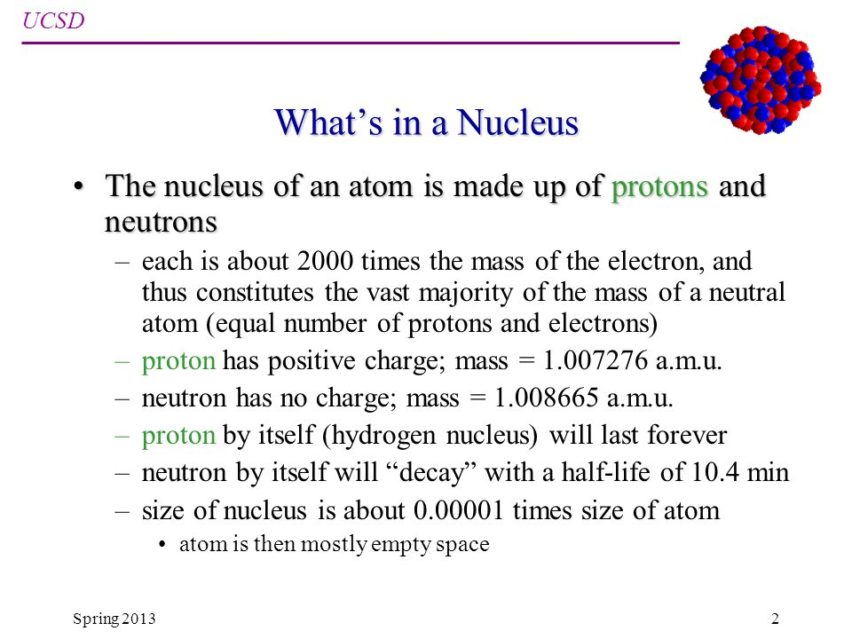 UCSD Physics 12 Spring 20132 Whats in a Nucleus The nucleus of an atom is made up of protons and neutronsThe nucleus of an atom is made up of protons and neutrons –each is about 2000 times the mass of the electron, and thus constitutes the vast majority of the mass of a neutral atom (equal number of protons and electrons) –proton has positive charge; mass = 1.007276 a.m.u.