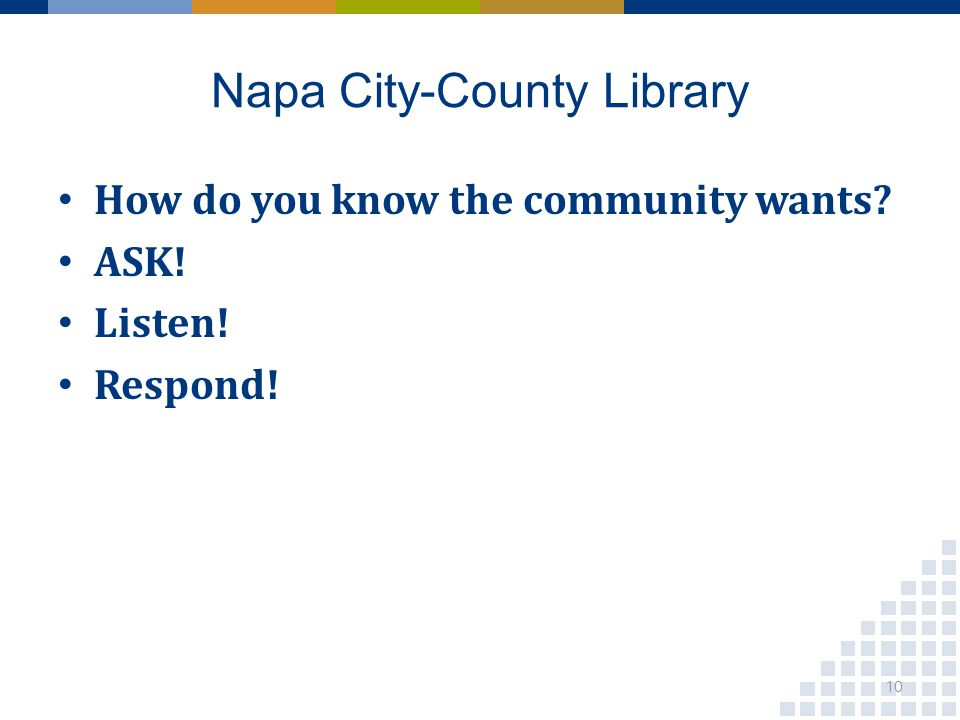 Napa City-County Library How do you know the community wants ASK! Listen! Respond! 10