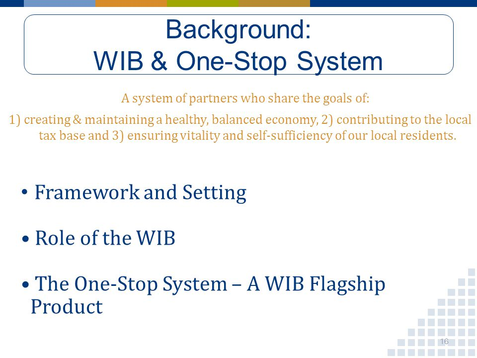 Background: WIB & One-Stop System A system of partners who share the goals of: 1) creating & maintaining a healthy, balanced economy, 2) contributing to the local tax base and 3) ensuring vitality and self-sufficiency of our local residents.