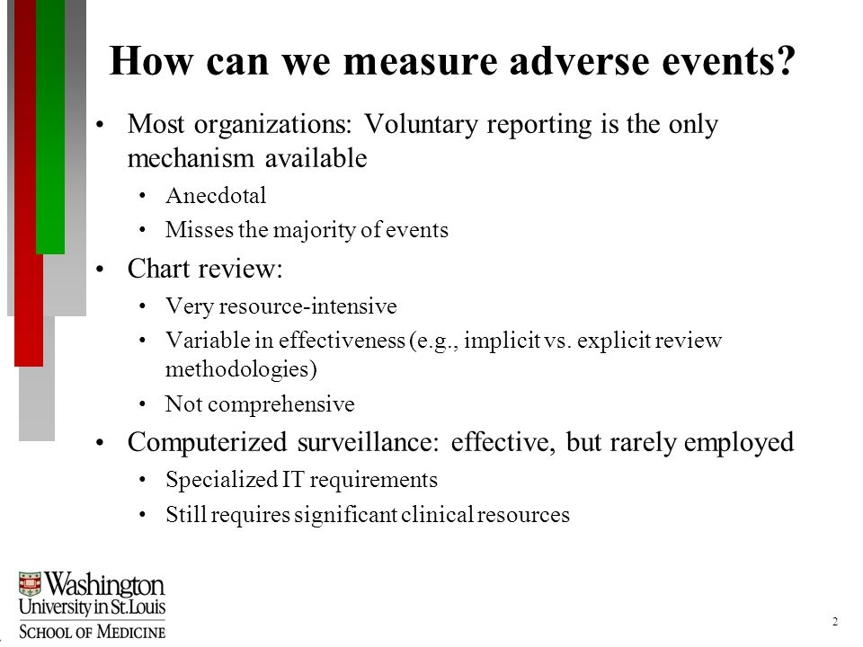 2 How can we measure adverse events.
