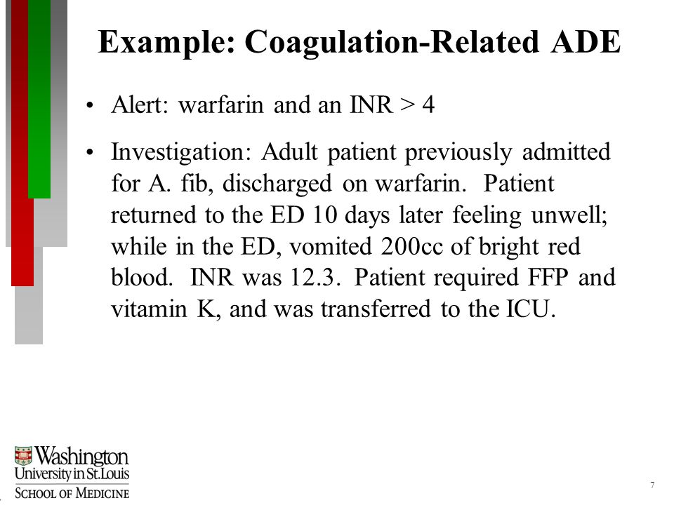 7 Example: Coagulation-Related ADE Alert: warfarin and an INR > 4 Investigation: Adult patient previously admitted for A.