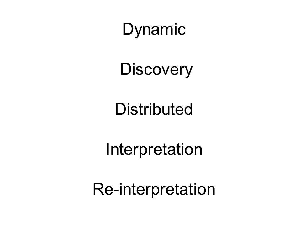 Dynamic Discovery Distributed Interpretation Re-interpretation