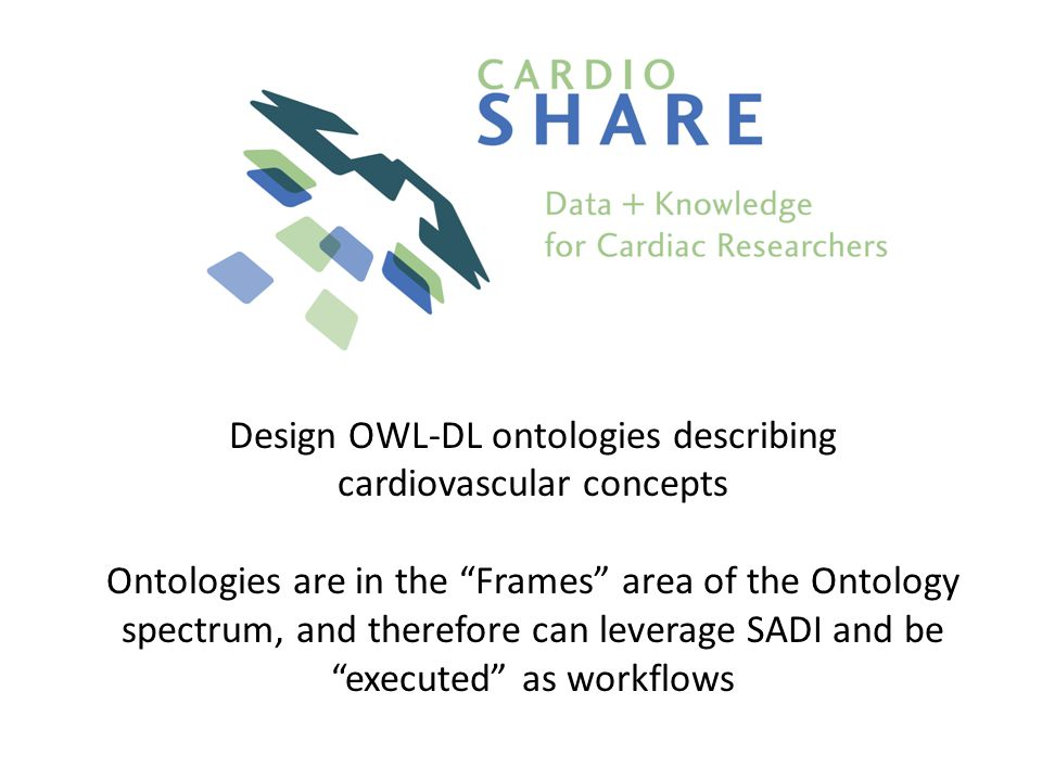 Design OWL-DL ontologies describing cardiovascular concepts Ontologies are in the Frames area of the Ontology spectrum, and therefore can leverage SADI and be executed as workflows