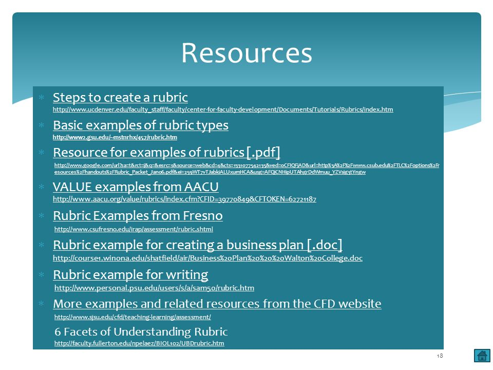 Steps to create a rubric http://www.ucdenver.edu/faculty_staff/faculty/center-for-faculty-development/Documents/Tutorials/Rubrics/index.htm Steps to create a rubric http://www.ucdenver.edu/faculty_staff/faculty/center-for-faculty-development/Documents/Tutorials/Rubrics/index.htm Basic examples of rubric types http://www2.gsu.edu/~mstnrhx/457/rubric.htm Basic examples of rubric types http://www2.gsu.edu/~mstnrhx/457/rubric.htm Resource for examples of rubrics [.pdf] http://www.google.com/url sa=t&rct=j&q=&esrc=s&source=web&cd=4&cts=1331077542135&ved=0CFIQFjAD&url=http%3A%2F%2Fwww.csub.edu%2FTLC%2Foptions%2Fr esources%2Fhandouts%2FRubric_Packet_Jan06.pdf&ei=259WT7vTJabkiALUxumHCA&usg=AFQjCNHipUTAhgrDdWmuu_YZVsig3tYngw VALUE examples from AACU http://www.aacu.org/value/rubrics/index.cfm CFID=39770849&CFTOKEN=62721187 VALUE examples from AACU http://www.aacu.org/value/rubrics/index.cfm CFID=39770849&CFTOKEN=62721187 Rubric Examples from Fresno http://www.csufresno.edu/irap/assessment/rubric.shtml Rubric example for creating a business plan [.doc] http://course1.winona.edu/shatfield/air/Business%20Plan%20%20%20Walton%20College.doc Rubric example for creating a business plan [.doc] http://course1.winona.edu/shatfield/air/Business%20Plan%20%20%20Walton%20College.doc Rubric example for writing http://www.personal.psu.edu/users/s/a/sam50/rubric.htm Rubric example for writinghttp://www.personal.psu.edu/users/s/a/sam50/rubric.htm More examples and related resources from the CFD website http://www.sjsu.edu/cfd/teaching-learning/assessment/ 6 Facets of Understanding Rubric http://faculty.fullerton.edu/npelaez/BIOL102/UBDrubric.htm http://faculty.fullerton.edu/npelaez/BIOL102/UBDrubric.htm Resources 18