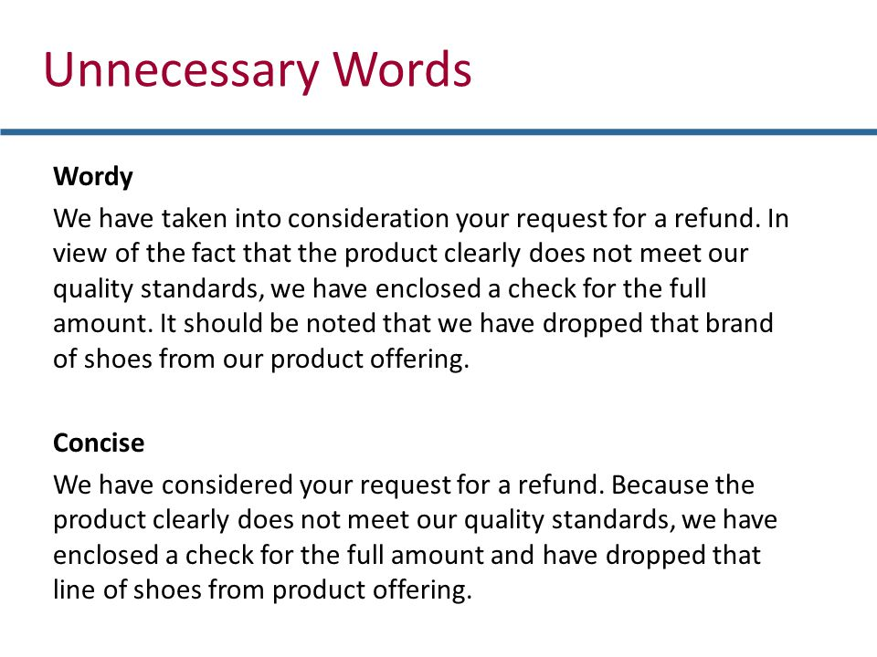 Unnecessary Words Wordy We have taken into consideration your request for a refund.