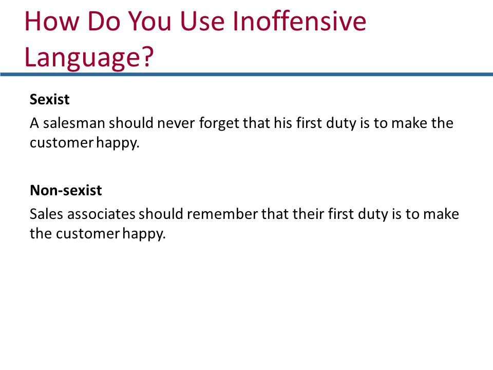 How Do You Use Inoffensive Language.