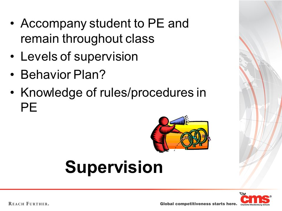 Supervision Accompany student to PE and remain throughout class Levels of supervision Behavior Plan.
