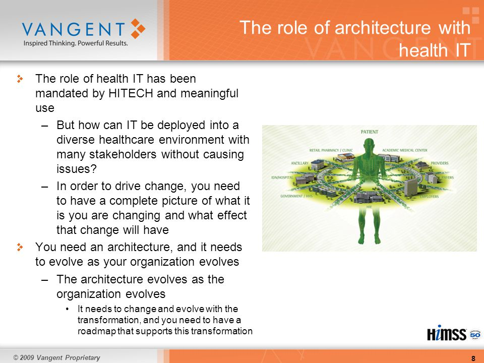 © 2009 Vangent Proprietary The role of architecture with health IT The role of health IT has been mandated by HITECH and meaningful use –But how can IT be deployed into a diverse healthcare environment with many stakeholders without causing issues.